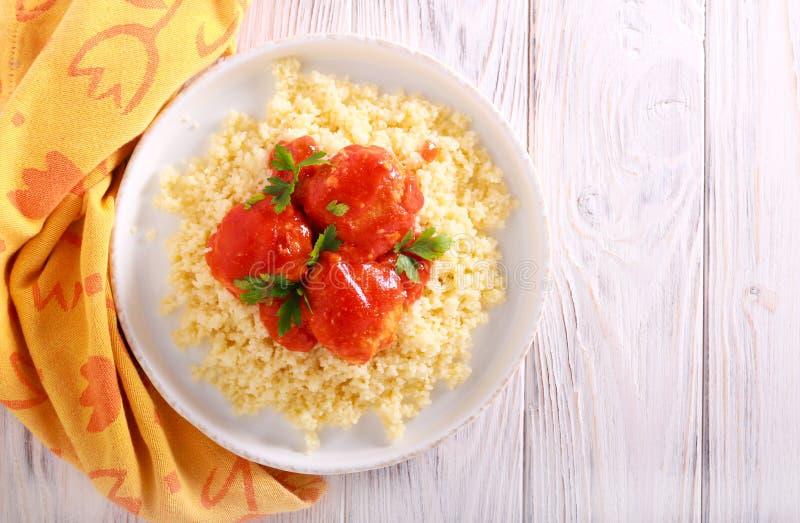 在西红柿酱的鸡丸子 库存图片