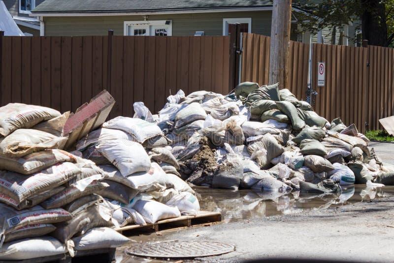 洪水在西部的拉瓦尔,魁北克 库存照片