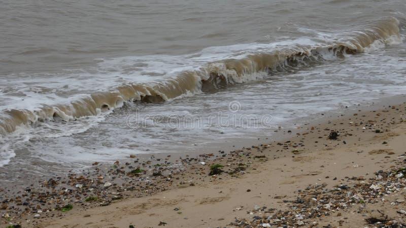 在西部Mersea,艾塞克斯,英国7的海滩 库存图片