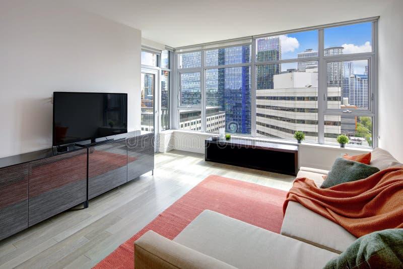 在西雅图,美国的公寓的现代客厅内部 库存照片