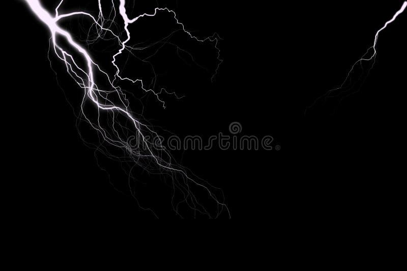在覆盖物设计的黑背景隔绝的雷 向量例证