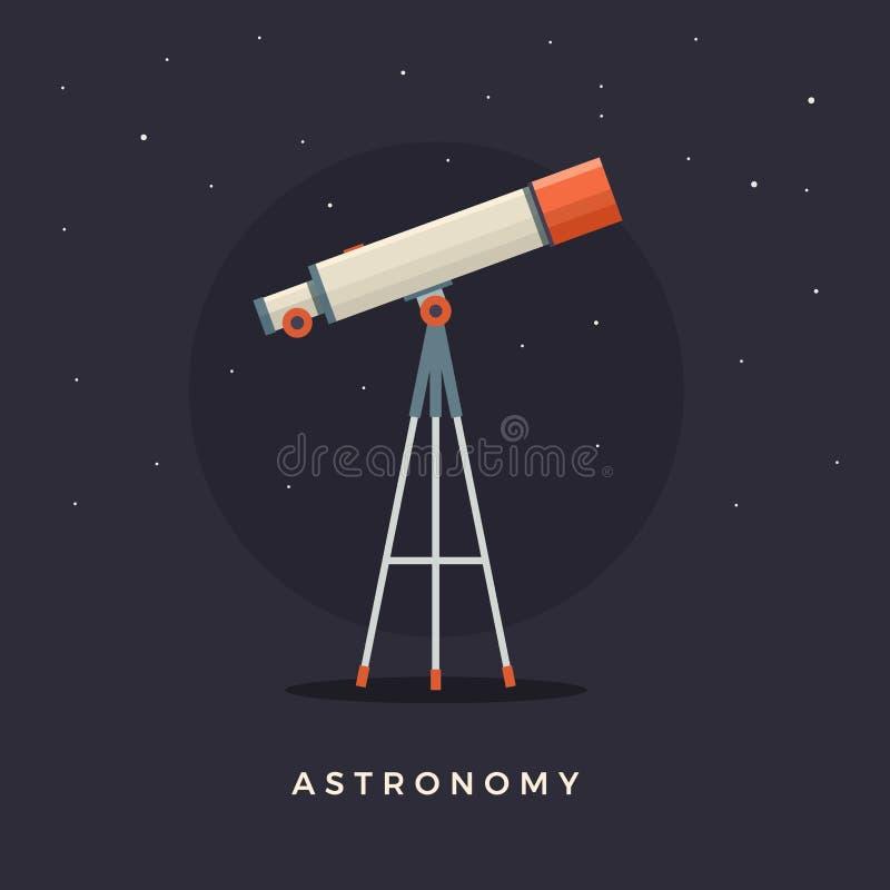 在观察星的支持的望远镜 占星术 向量例证