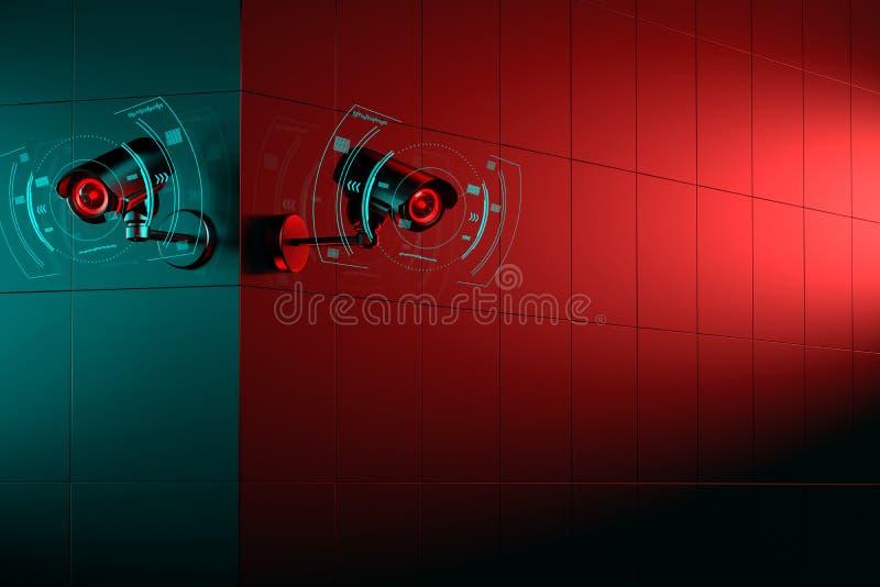 在角落的两台CCTV照相机 大厦的一边是绿色的另一边是红色的 3d?? 皇族释放例证