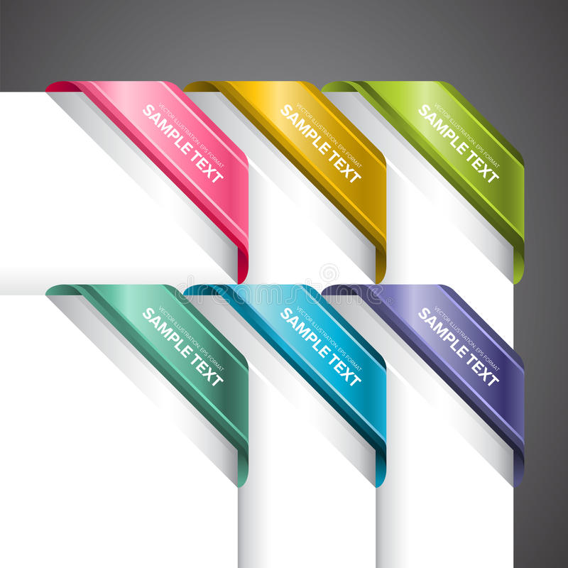在角落的五颜六色的标签 向量例证