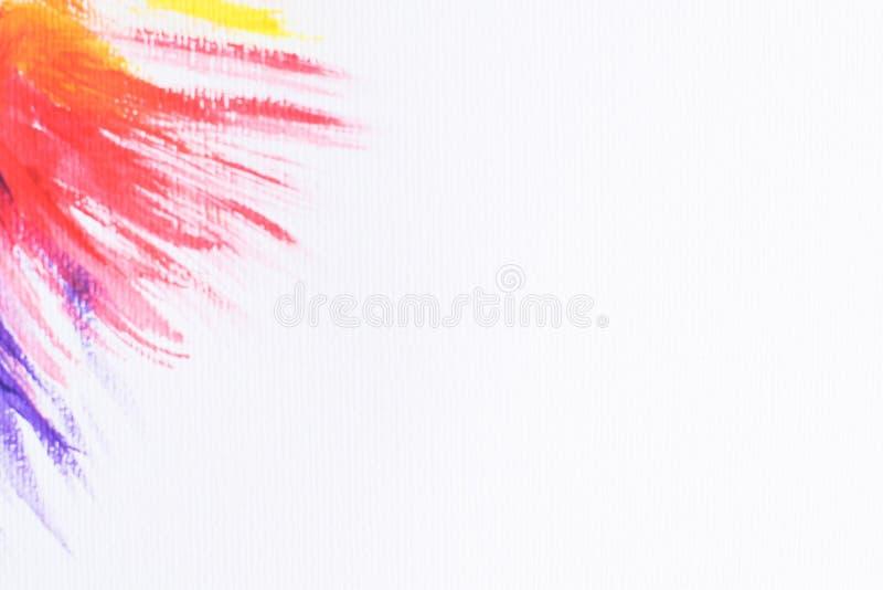 在角落的抽象多彩多姿的水彩飞溅在白色背景,网络设计的色的水彩横幅 ?? tex 免版税库存图片