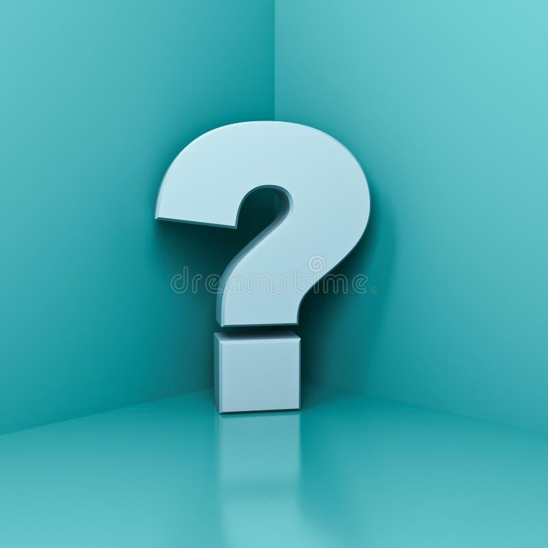 在角落的白色问号有蓝绿色淡色墙壁背景 向量例证