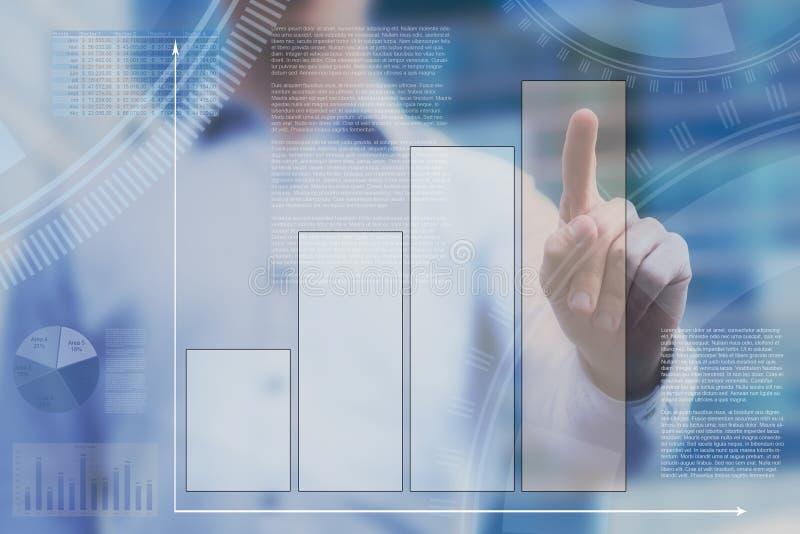 在触摸屏幕的抽象仪表板 库存图片