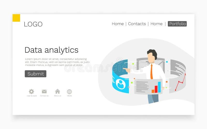 在触摸屏显示器附近的商人立场 数据逻辑分析方法和网技术概念 着陆页网站模板 皇族释放例证