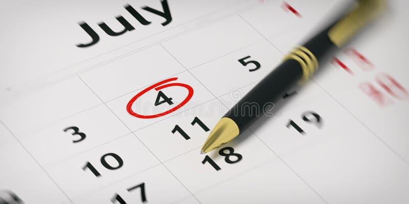 在计划者的圆珠笔-盘旋的独立日 3d例证 向量例证
