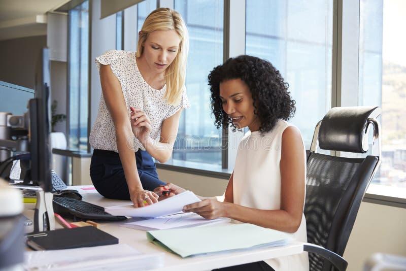 在计算机上的办公桌的女实业家 免版税库存照片
