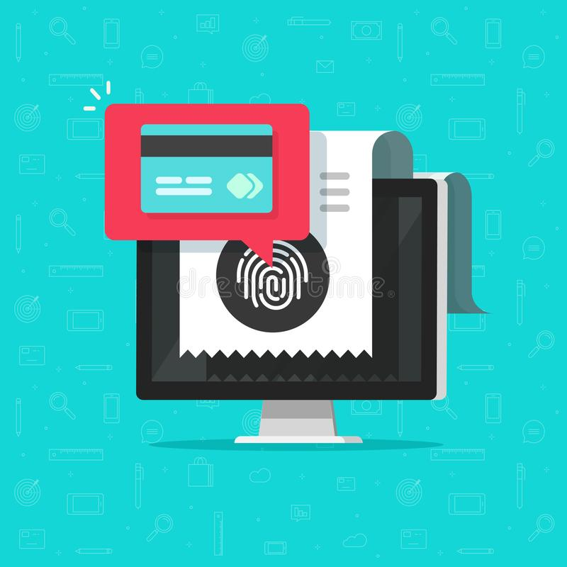在计算机上的网上付款通过指纹传染媒介例证,平的动画片付帐税通过在个人计算机的信用卡 皇族释放例证