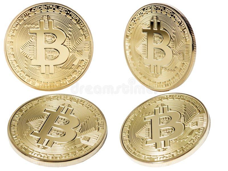 在计算机上的金黄Bitcoin金钱 库存例证