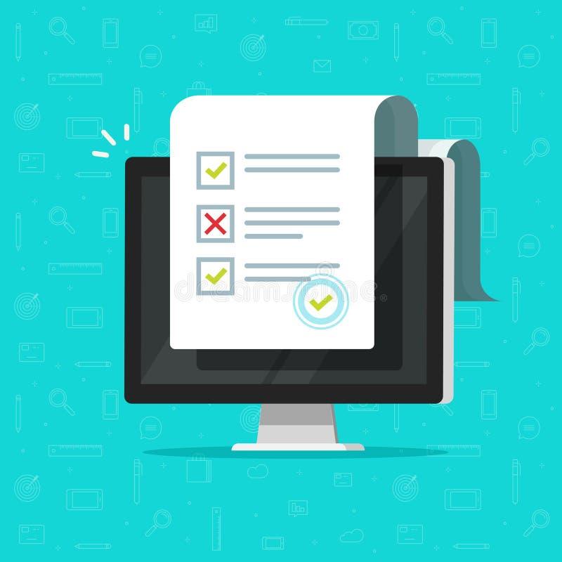 在计算机传染媒介例证,平的显示长的测验检查纸板料文件的动画片台式计算机的网上形式调查 向量例证