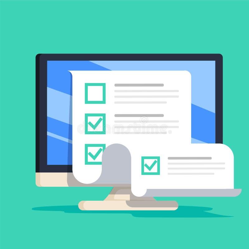 在计算机传染媒介例证,平的显示长的测验检查纸的动画片台式计算机的网上形式调查 向量例证
