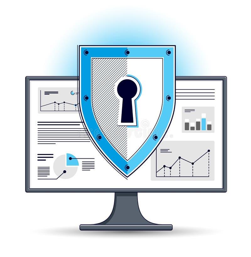 在计算机显示器、私有数据安全概念、抗病毒或者防火墙,财务保护,传染媒介平的稀薄的线的盾 库存例证