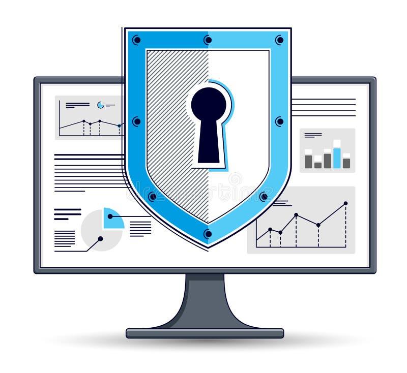 在计算机显示器、私有数据安全概念、抗病毒或者防火墙,财务保护,传染媒介平的稀薄的线的盾 向量例证