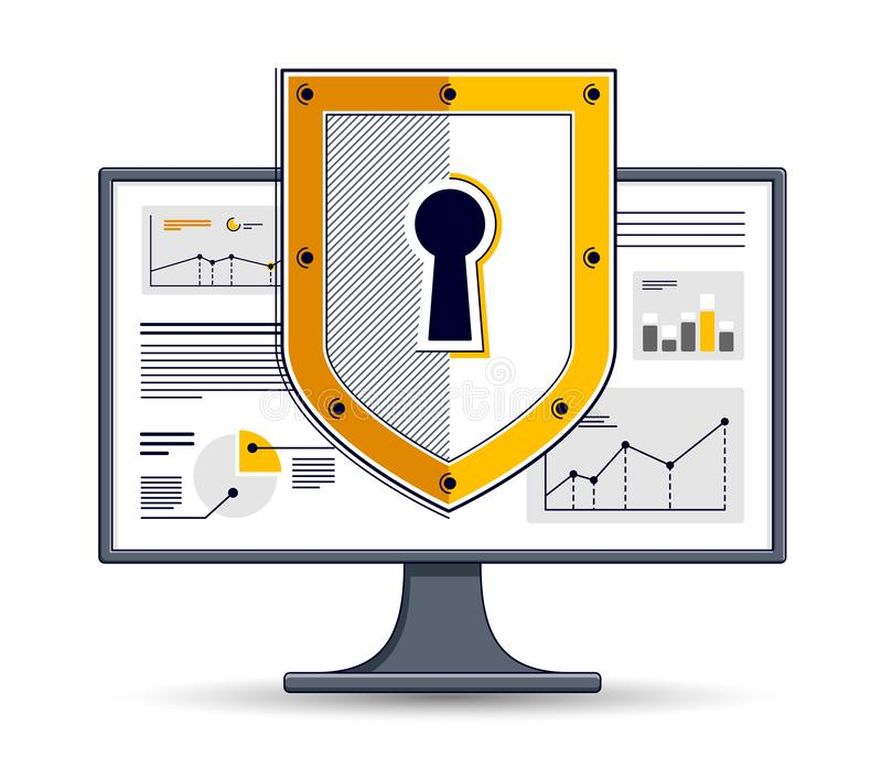 在计算机显示器、私有数据安全概念、抗病毒或者防火墙,财务保护,传染媒介平的稀薄的线的盾 皇族释放例证