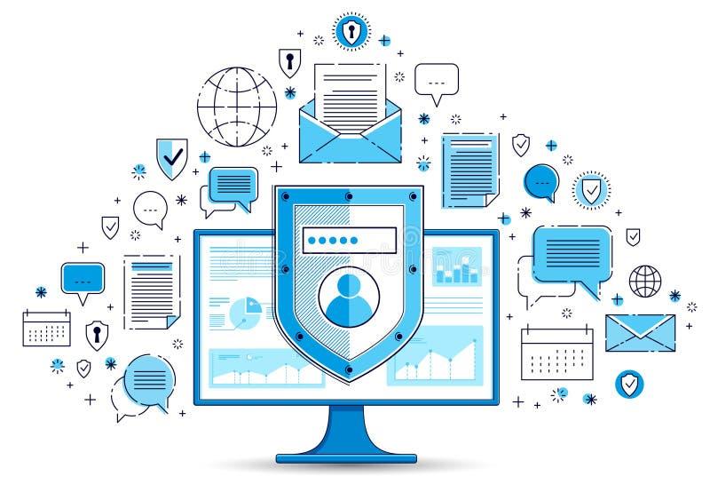 在计算机显示器和套的盾象、私有数据安全概念、抗病毒或者防火墙,财务保护,传染媒介 库存例证