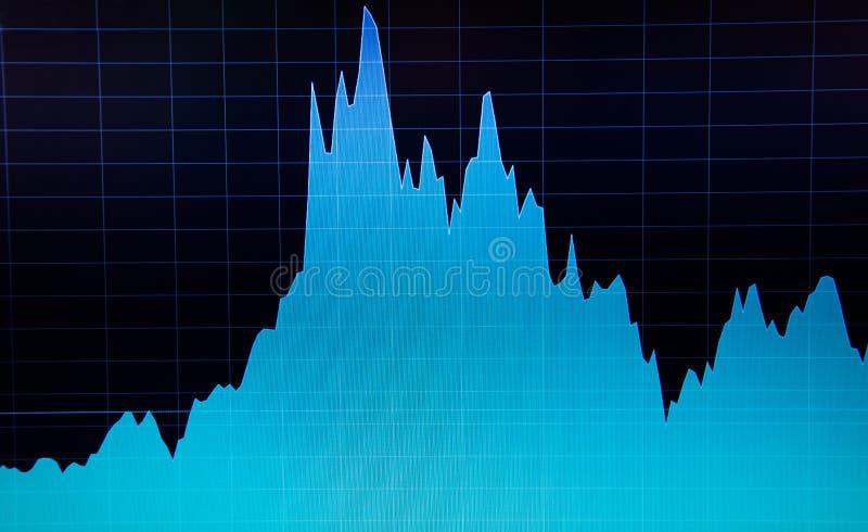 在计算机显示器的股市图 经营分析图 皇族释放例证
