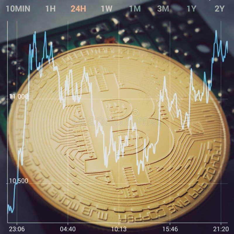 在计算机板的金黄Bitcoin Cryptocurrency 反对背景是价格变动Bitcoin的图表 宏指令 库存图片