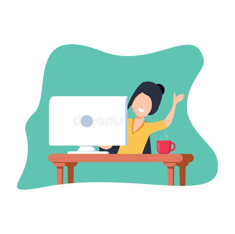 在计算机的工作 逗人喜爱的滑稽的快乐的妇女字符是工作和看在显示器后 向量例证