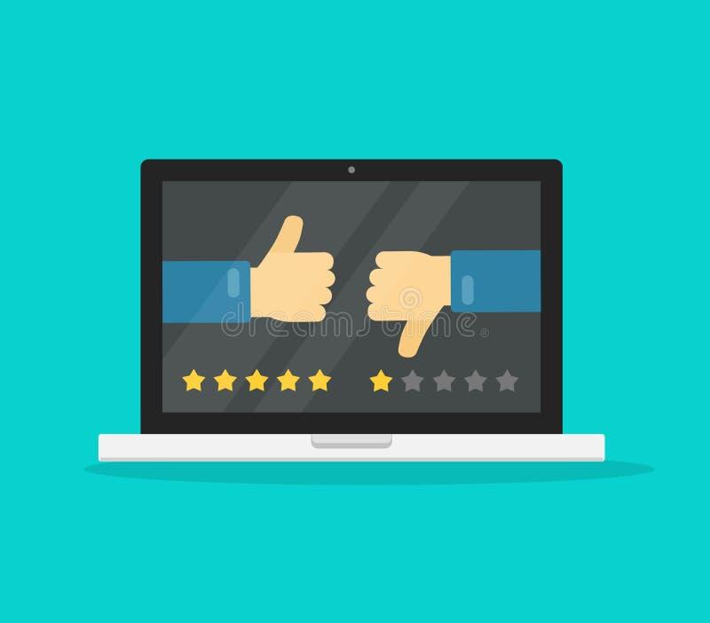 在计算机膝上型计算机概念传染媒介例证,有投票的手拇指的平的动画片个人计算机的在网上反馈或回顾 皇族释放例证