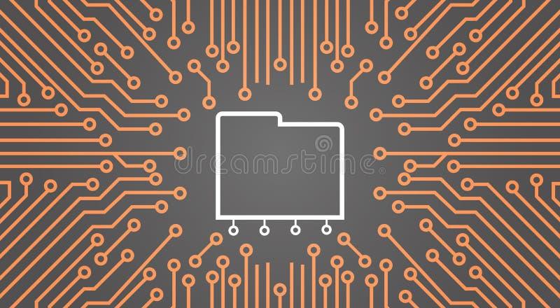 在计算机芯片Moterboard背景数据中心系统概念横幅的数据库 向量例证