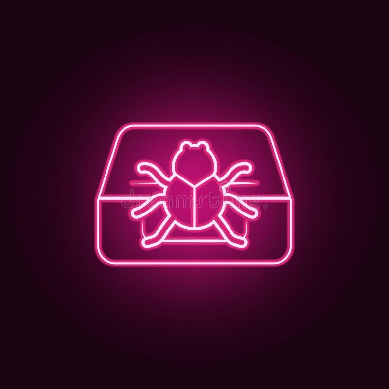 在计算机象的臭虫 网络安全的元素在霓虹样式象的 网站的简单的象,网络设计,流动应用程序,信息 皇族释放例证