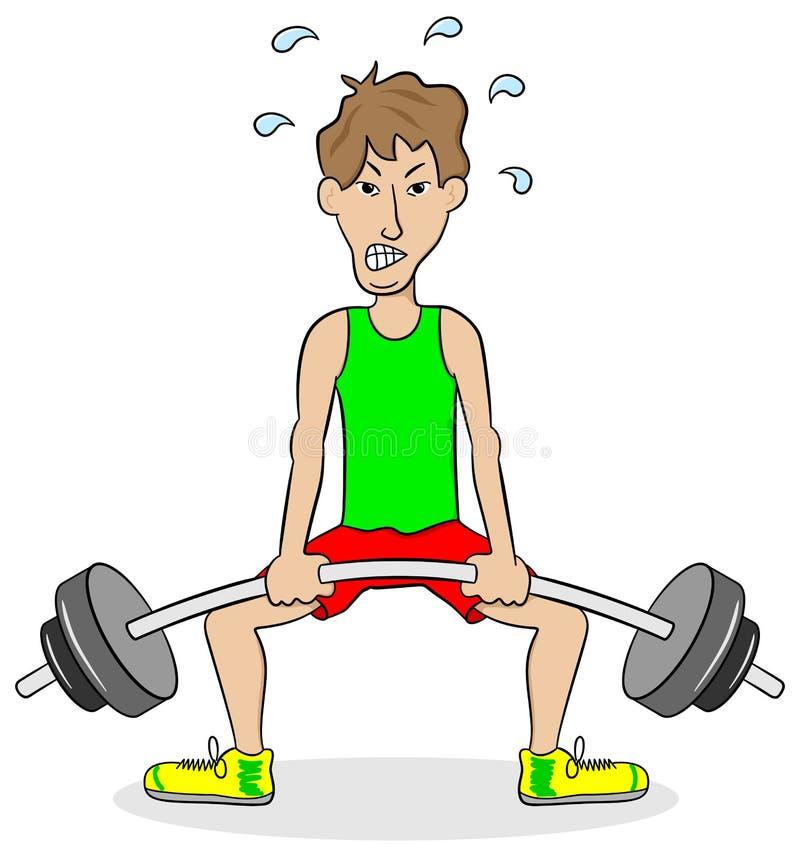 在训练期间的举重运动员 库存例证