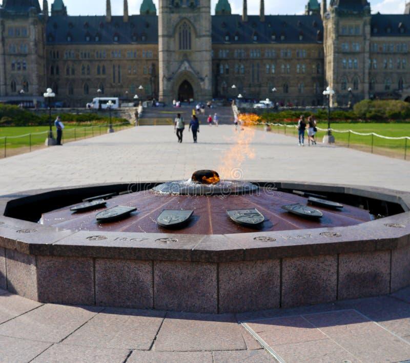 在议会小山,渥太华,加拿大的百年火焰 免版税图库摄影
