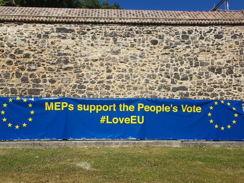 在议会正方形- MEP支持人` s表决-的反Brexit横幅,伦敦 库存照片