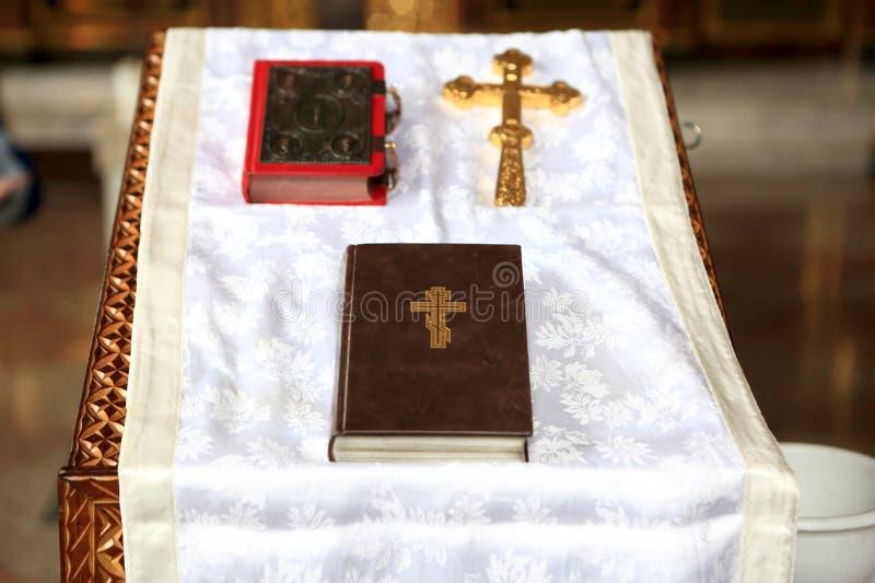 在讲坛的圣经 库存照片