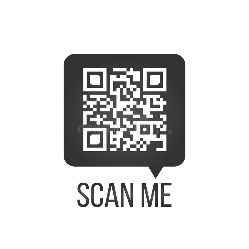 在讲话泡影、扫描我概念,传染媒介象或者标志的QR代码隔绝在白色背景 向量例证