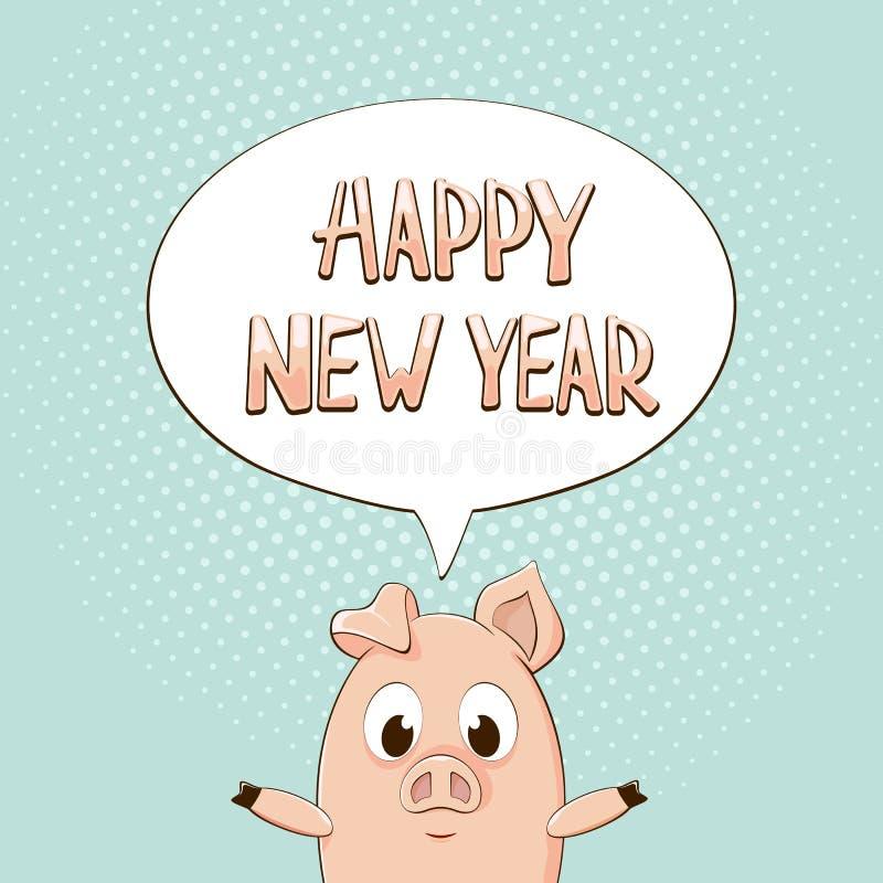 在讲话泡影的新年快乐与在蓝色backgrou的小的猪 皇族释放例证