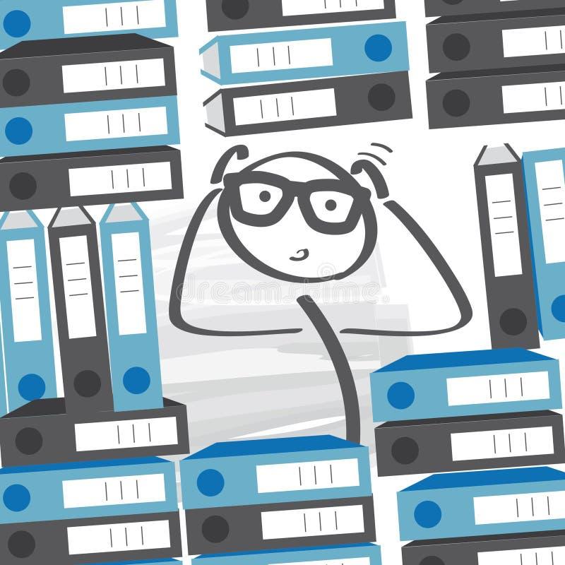 -在许多文件夹之间的超时商人重的工作量 库存例证