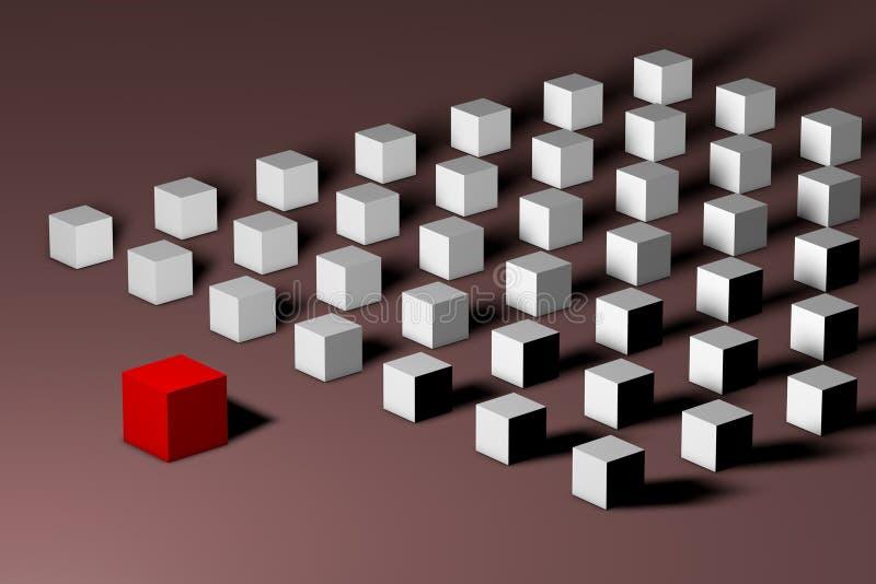 在许多白色部分前面的等量红色独特的立方体 领导,独特,个性,寂寞,区别和 皇族释放例证