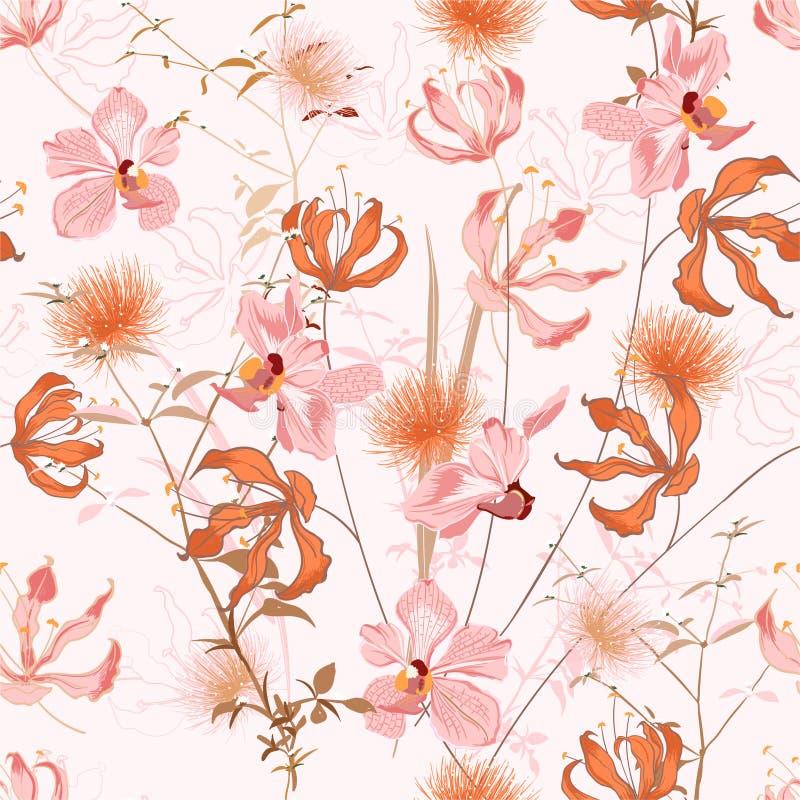 在许多的花卉样式种类花 植物的主题重复 r 在手中打印与拉长的样式 库存例证