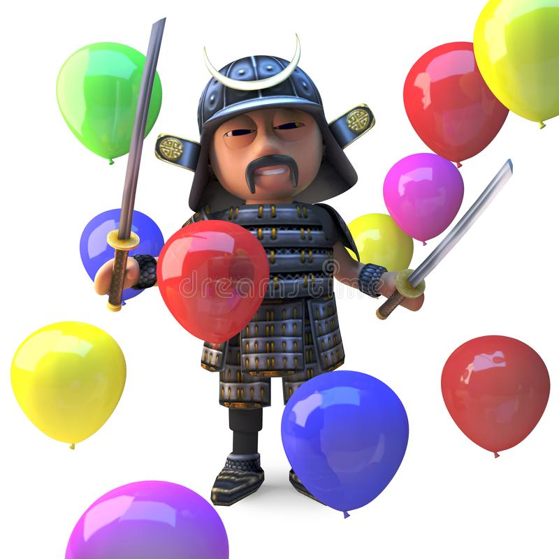在许多色的气球中的高尚的日本武士战士立场,3d例证 向量例证