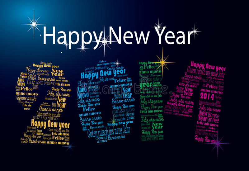在许多语言的新年好2014词 免版税库存图片