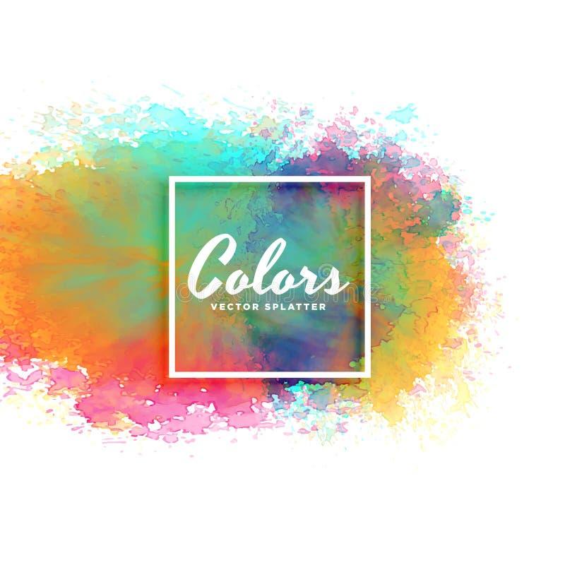 在许多颜色的抽象水彩污点背景 皇族释放例证