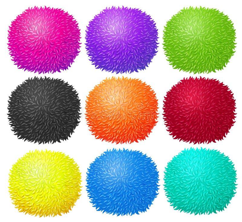 在许多颜色的蓬松球 库存例证