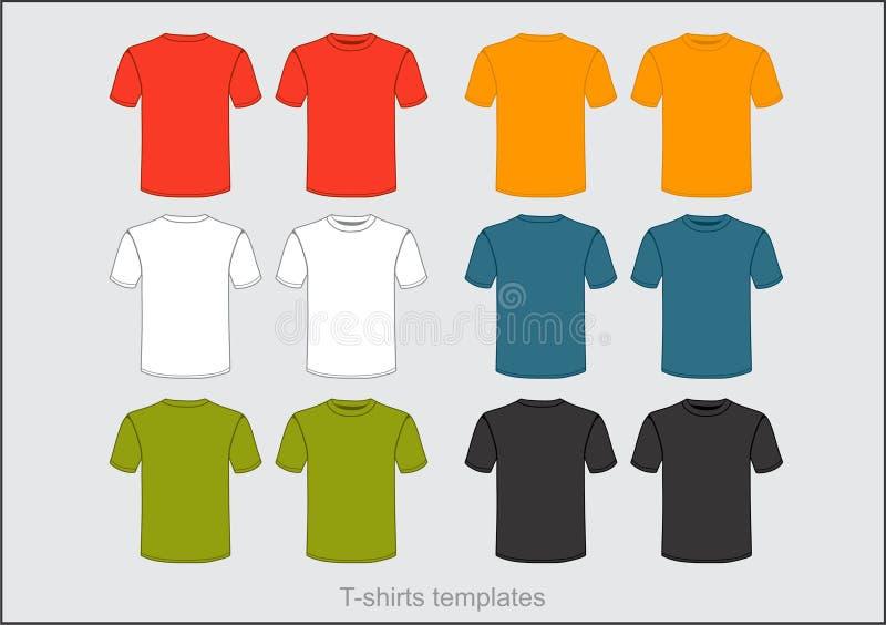 在许多颜色的T恤杉模板 向量例证