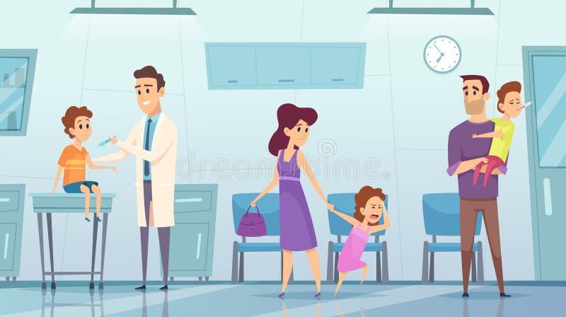 在诊所的接种 做安注的医疗背景画面孩子住院医生由流行性感冒传染媒介 皇族释放例证