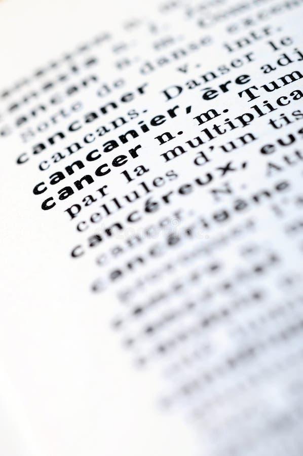在词巨蟹星座的法语字典 库存照片
