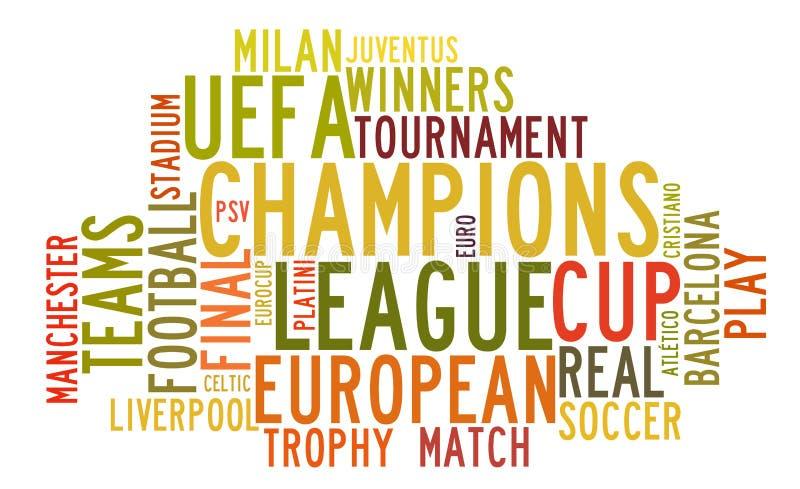 在词标记云彩的欧洲联赛冠军杯 皇族释放例证