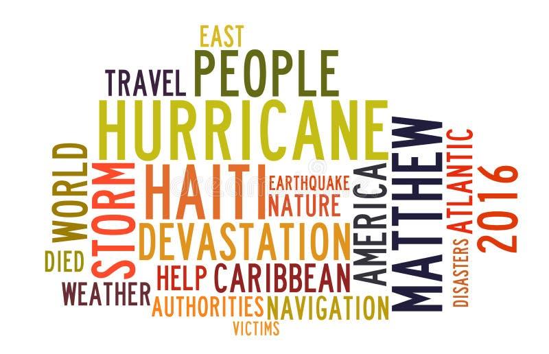 在词标记云彩的飓风马修 库存例证