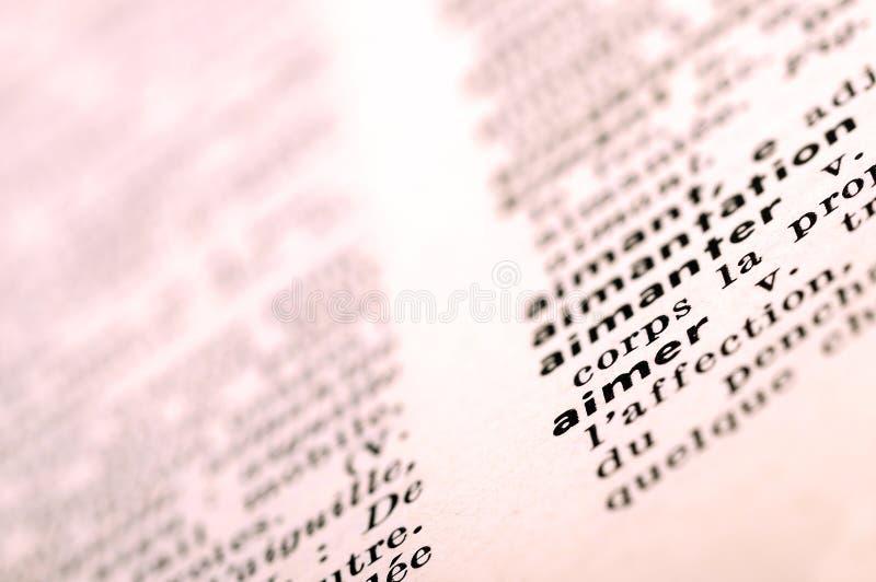 在词爱的法语字典 免版税库存图片