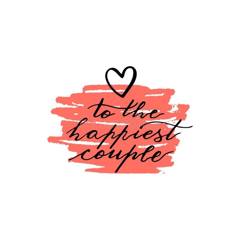 在词组上写字的习惯手对最愉快的夫妇 手写的在桃红色墨水脏的污点的假日招呼的文本 向量例证