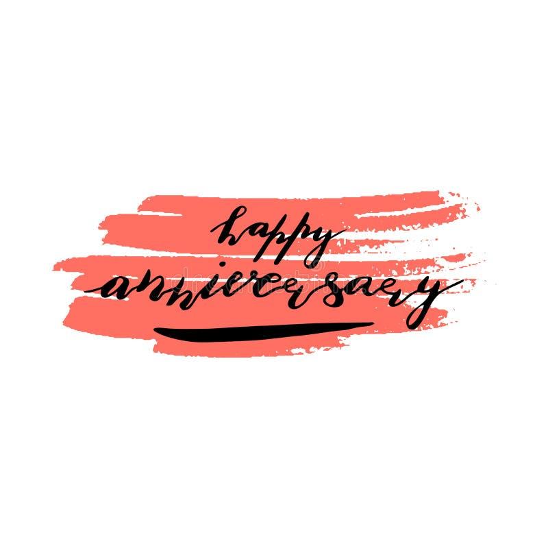 在词组上写字的习惯手结婚纪念日快乐 手写的在桃红色墨水污点的假日招呼的文本 皇族释放例证