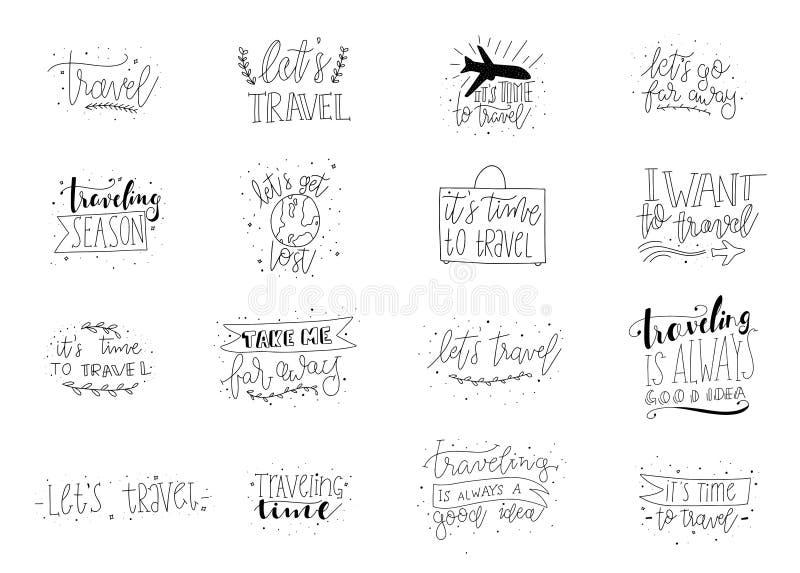在词组上写字的旅行 逗人喜爱的乱画手拉的旅行的印刷术 也corel凹道例证向量 免版税库存照片